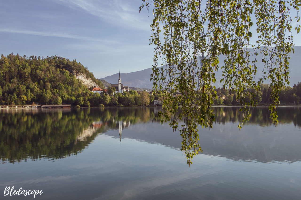 View of St Martin's Church from the walking path by Lake Bled