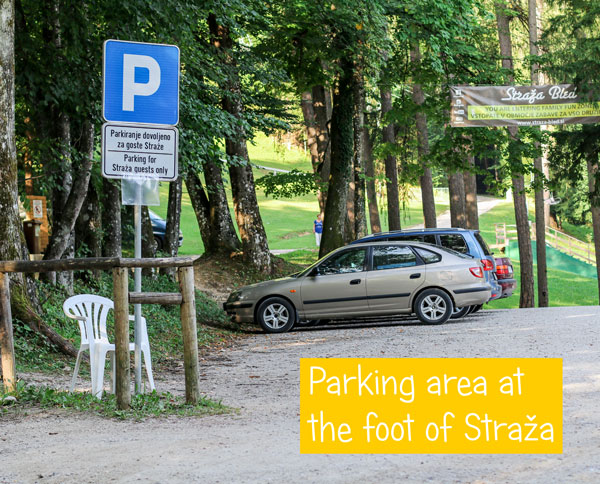 Parking at the foot of Straža