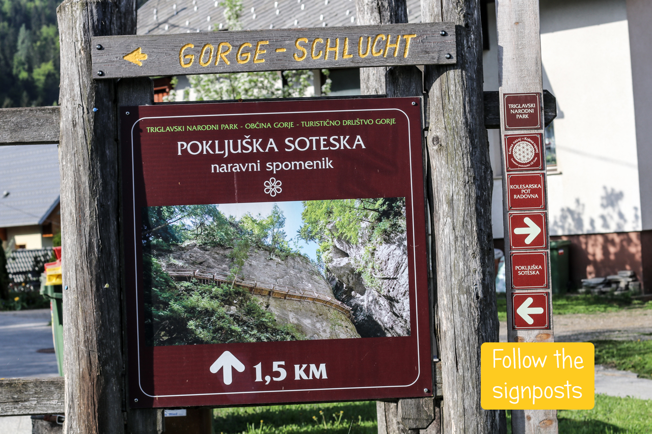 Signpost pointing to Pokljuka Gorge