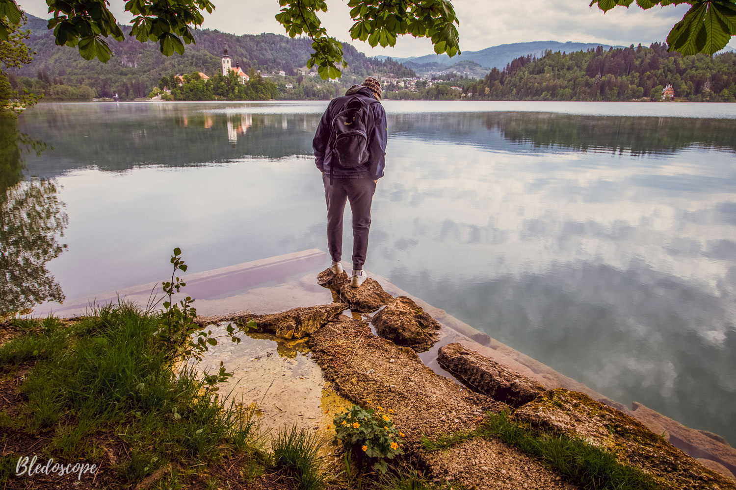 the view of the path around lake bled