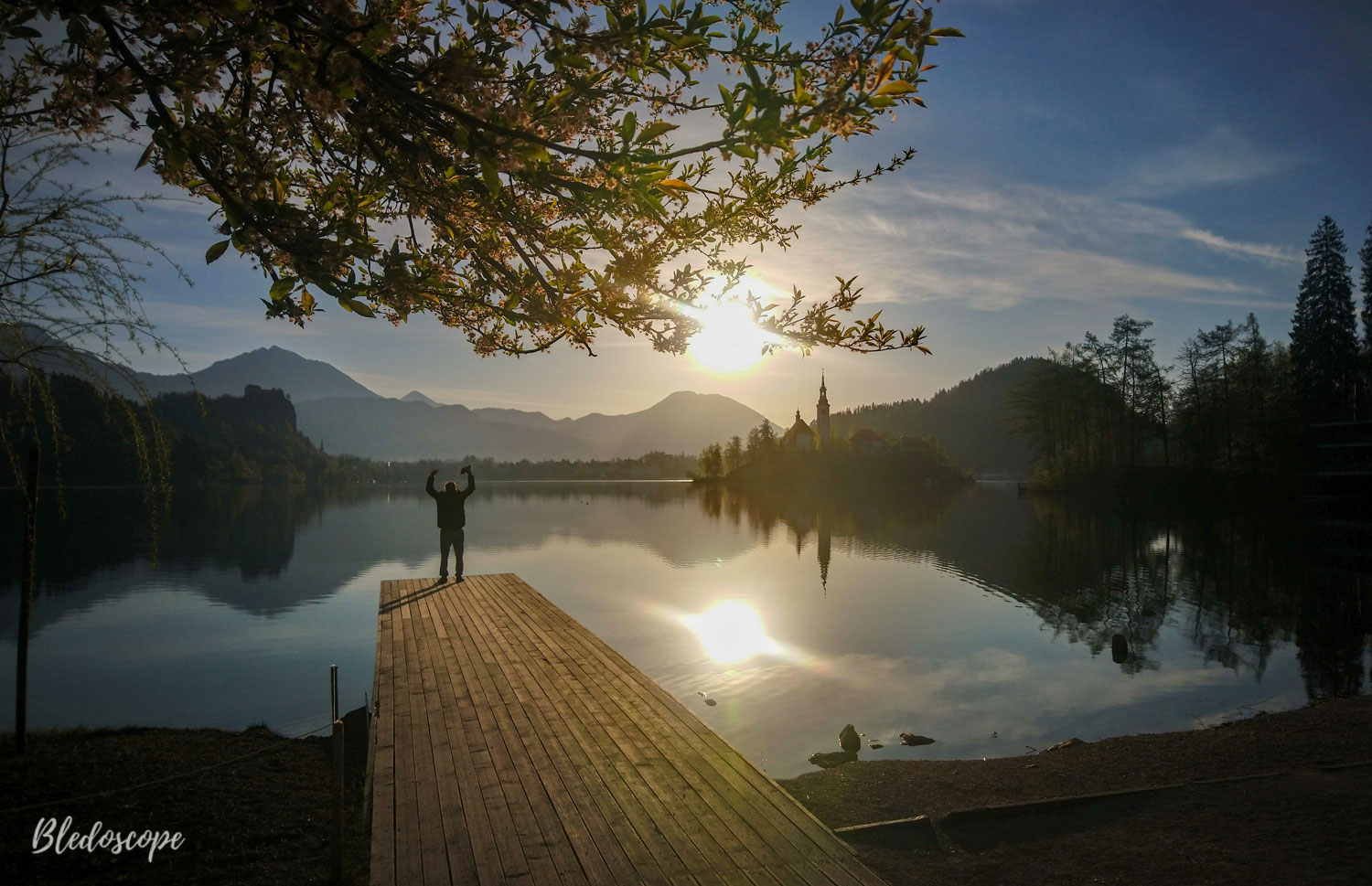 Morning at Lake Bled in the time of coronavirus outbreak